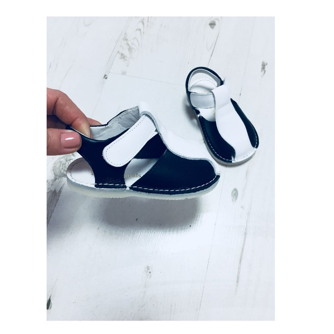 d5f9b0bbf872d ... Pretty Originals Navy Blue   White Leather Boys Sandals With Rubber Sole