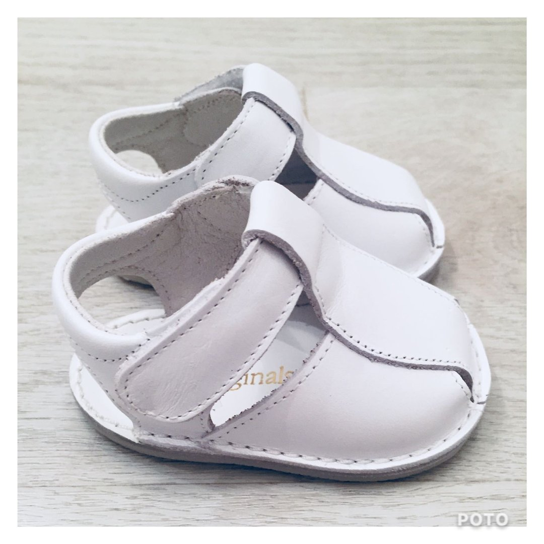 954000999674d Pretty Originals All White Boys Leather Sandals With Rubber Soles ...