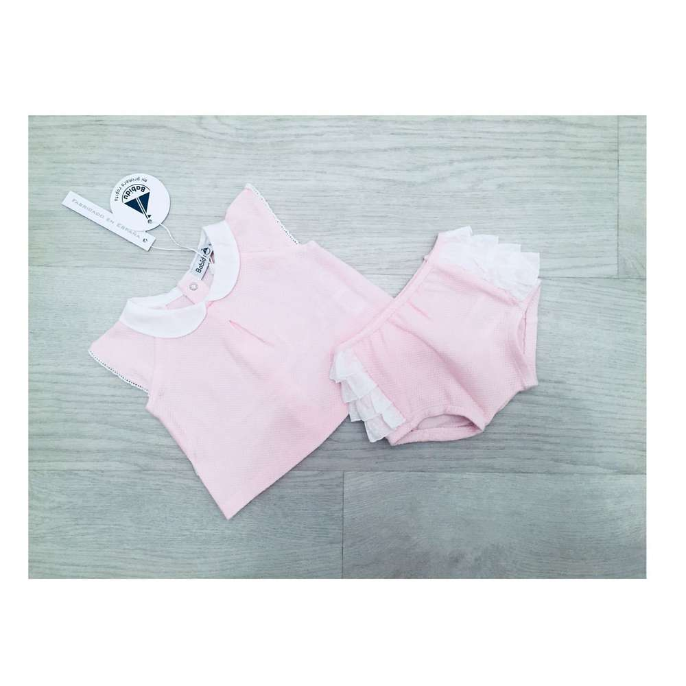 44573ae9916d Babidu Pink   White 2 Piece Set With Ruffle Side Detail On Bottoms ...
